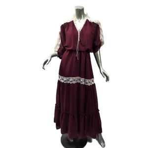 Peasant Maxi Dress 70s Maroon Red Parchment Lace S